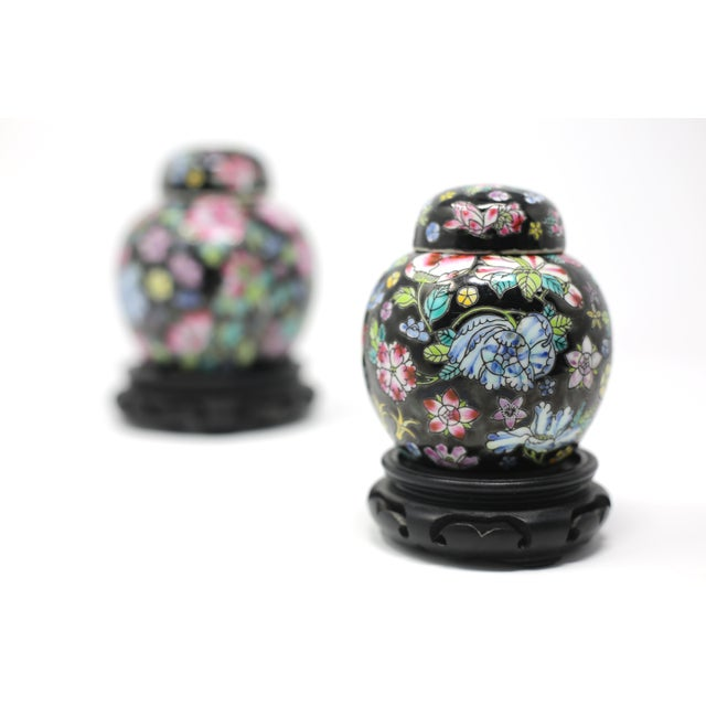 Vintage Petite Black Ginger Jars With Colorful Flowers and Wood Stands - Set of 2 For Sale - Image 4 of 11