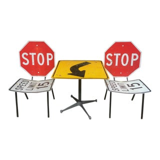 Industrial Road Sign Table & Chairs - Set of 3