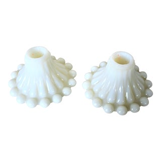 1960s Cottage Milk Glass Candle Holders - a Pair For Sale