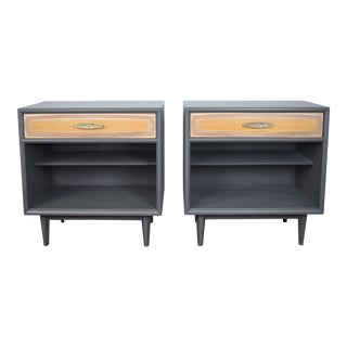 19th Century Mid Century Modern Heritage Teak and Walnut Gray Side Tables - a Pair For Sale
