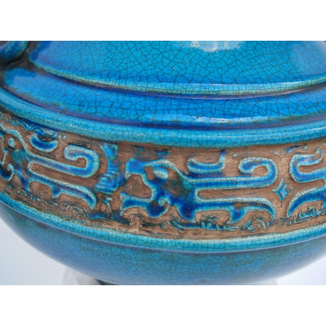 Turquoise Pair of Italian Mid-Century Turquoise Glazed Lamps For Sale - Image 8 of 10