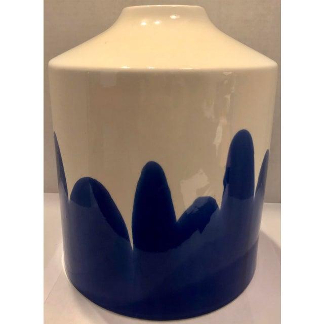 Modern Blue & White Ceramic Vase For Sale - Image 3 of 7