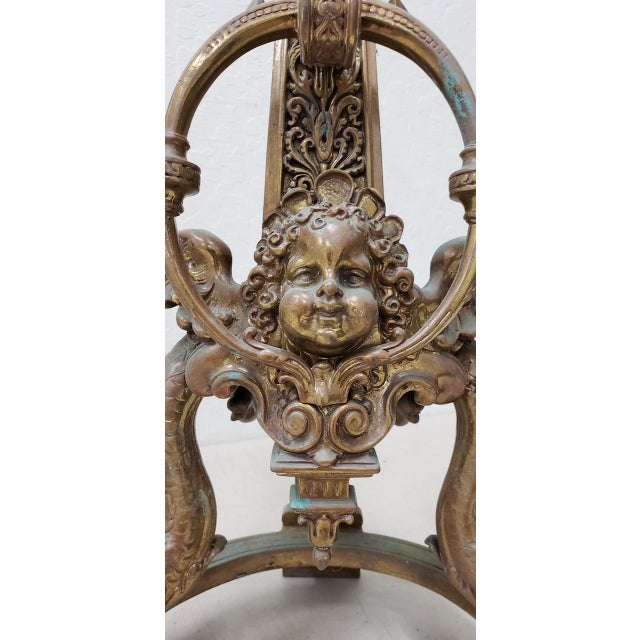 Late 19th Century French Baroque Bronze Chenets / Andirons - a Pair For Sale - Image 9 of 12