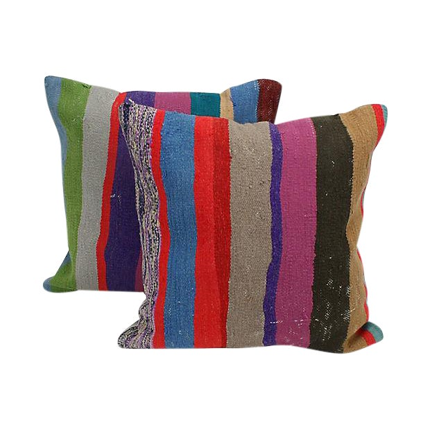 Turkish Kilim Throw Pillows : Striped Turkish Kilim Throw Pillows - A Pair Chairish