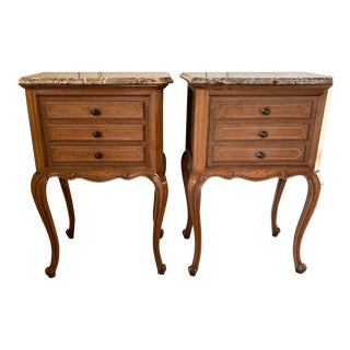 1920s French Night Stands-A Pair With Marble Top For Sale
