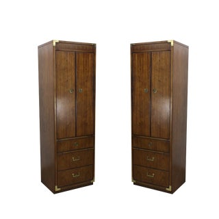 Pair of Campaign Style Cabinets For Sale