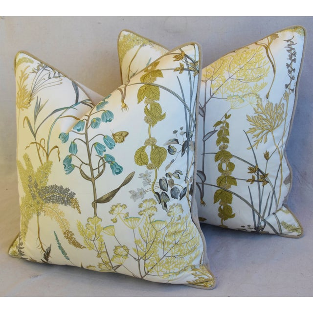 "Botanical Wildflower Floral Feather/Down Pillows 23"" Square - Pair For Sale - Image 10 of 13"