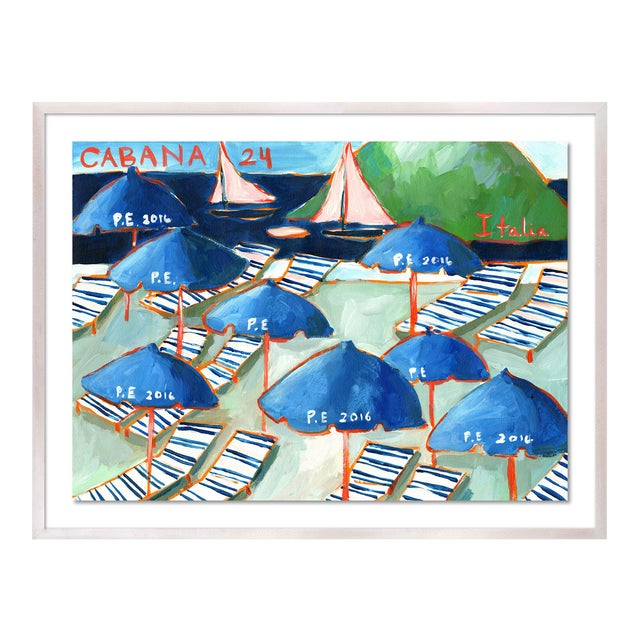 Cabanas 24 by Lulu DK in White Wash Framed Paper, Medium Art Print For Sale