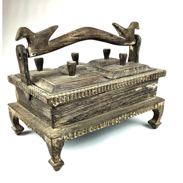 1900s Asian Hand Carved Wood Spice Box For Sale - Image 11 of 11