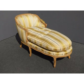 Vintage Baker French Provincial Gold Chaise Lounge Goose Down Cushion Preview