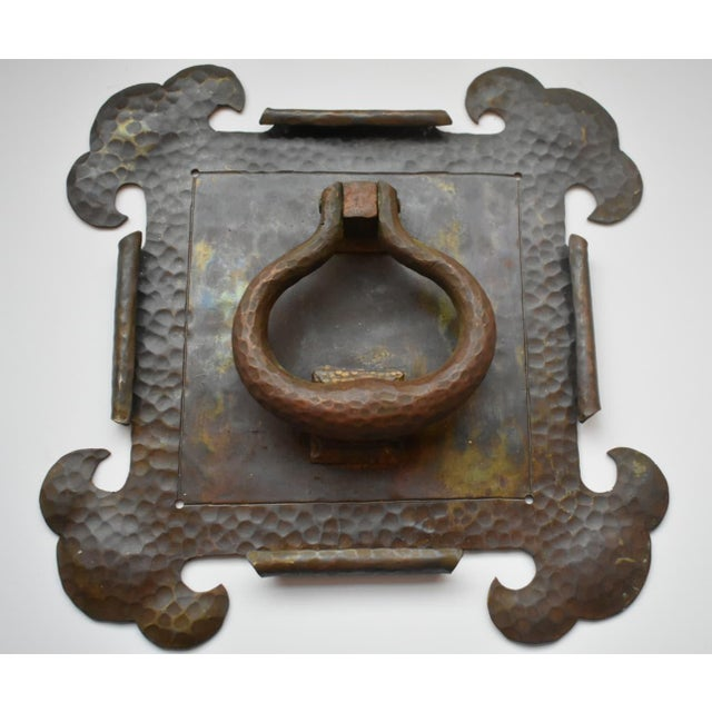 Metal Arts and Crafts Brass Hammered Door Knocker For Sale - Image 7 of 7