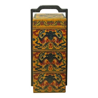 Chinese Yellow Lacquer Color Bats Floral Graphic Painting Box For Sale