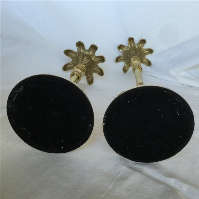 Brass Palm Tree Candle Holders - Pair - Image 7 of 9