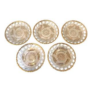 Vintage Pierced Gold Rim Desert Plates - Set of 5 For Sale