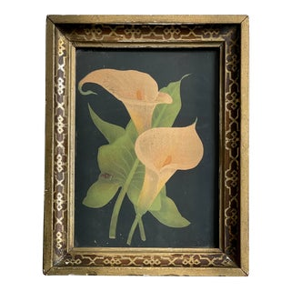 Pink Calla Lilly Study in Hand Painted Lattice Pattern Frame (Ca. 1900, Oil on Paper) For Sale