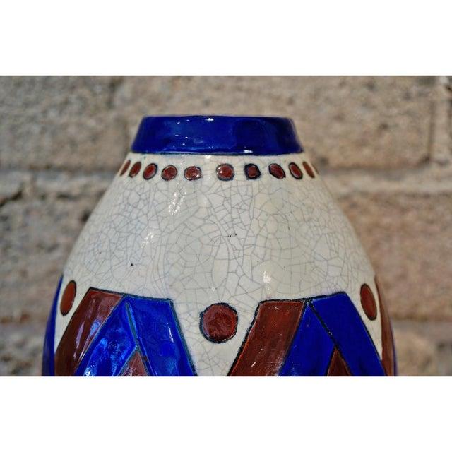 Art Deco 1920s Jacques Adnet Glazed Vase For Sale - Image 3 of 7