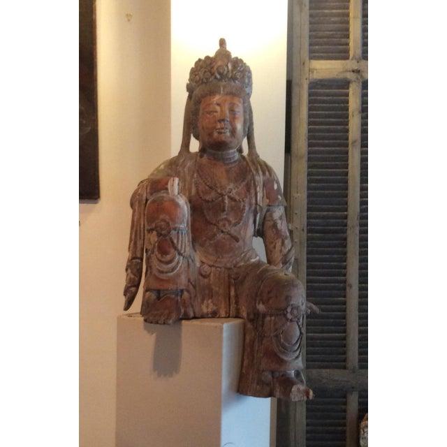 Carved Wood Bodhisattva For Sale - Image 9 of 10