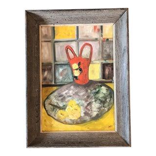 Original Mid Century Modernist Still Life Wormwood Frame For Sale