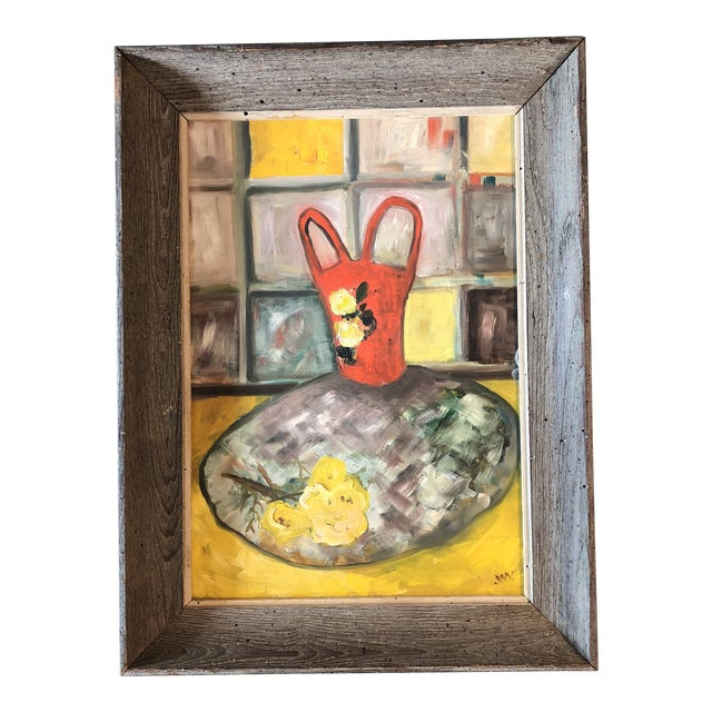 Original Mid Century Modernist Still Life Wormwood Frame For Sale