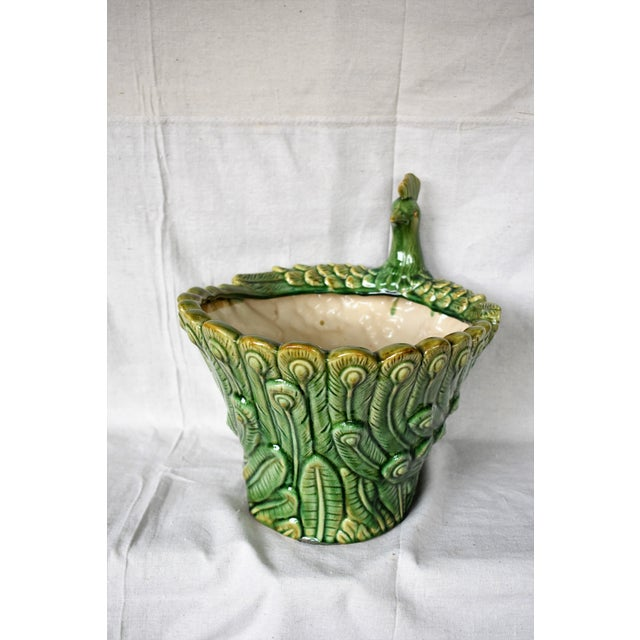Figurative Ceramic Peacock Cachepot For Sale - Image 3 of 5