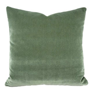 "Pollack Sedan Plush in Eucalyptus Pillow Cover - 20"" X 20"" Sage Green Heavy Velvet Cushion Case For Sale"