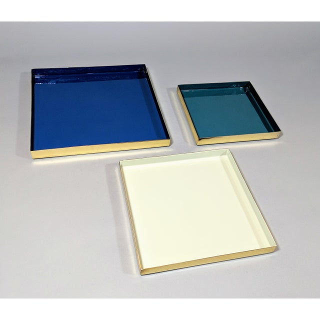 Brass and Enamel Blue, Teal & White Trays - Set of 3 For Sale - Image 9 of 13