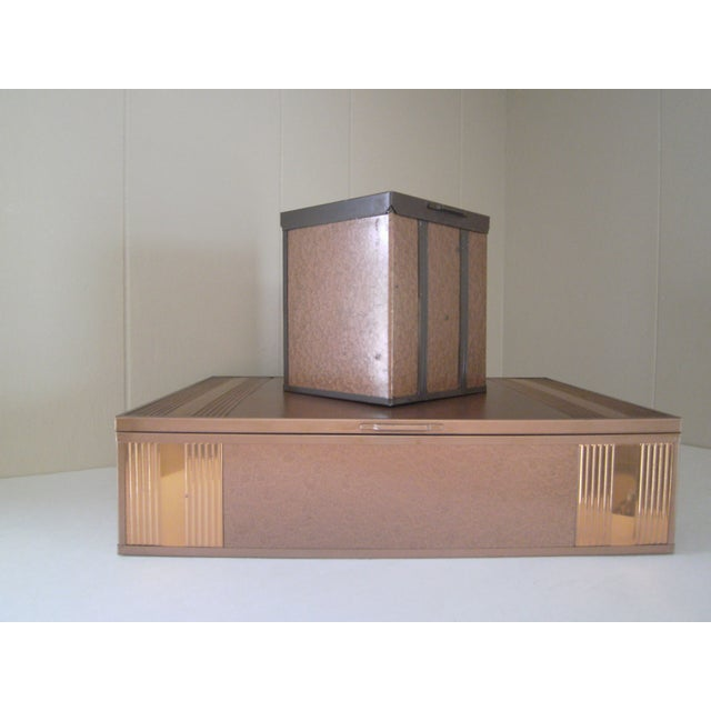 1940s Copper Enameled Metal on Wood Boxes - A Pair - Image 2 of 11