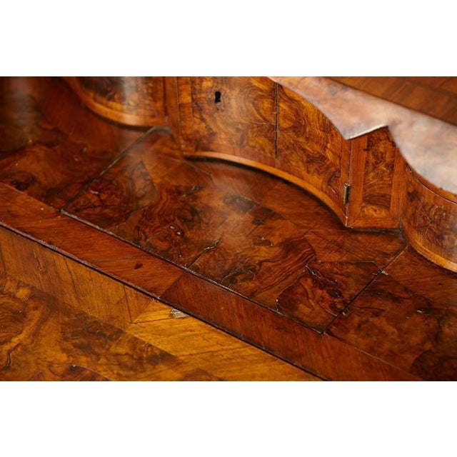 Tan Italian Burled Walnut Slant Front Desk with Hidden Drawers For Sale - Image 8 of 10