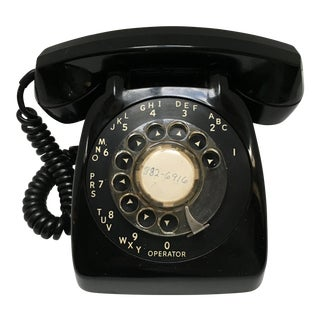 Vintage Classic Black Desk Dial Telephone For Sale