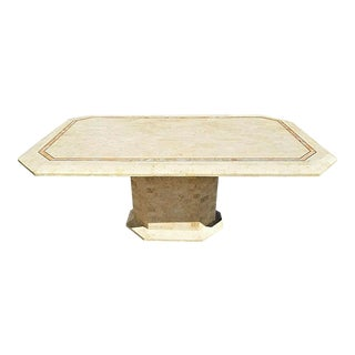 Large Maitland Smith Tessellated Stone and Brass Inlay Dining Table 2 Tone For Sale