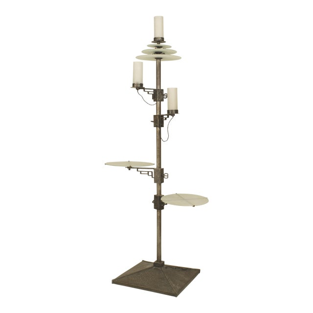 French Art Deco Wrought Iron Standing Lamp For Sale