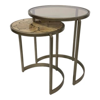 Modern Faux Bois and Glass Nesting Tables Set of Two For Sale