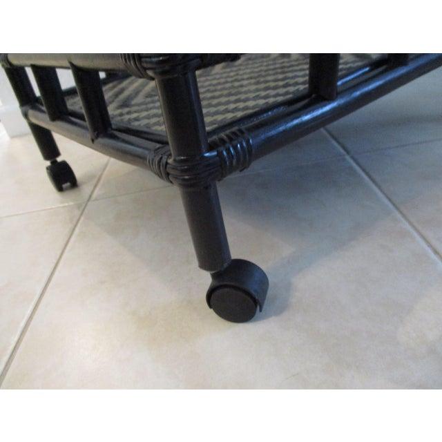 Black Black & Tan Bamboo & Rattan Rolling Bar Cart For Sale - Image 8 of 9