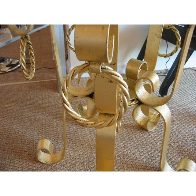 1960s Pair of Vintage Italian Gold Leaf Iron and Marble Top End / Side Tables For Sale - Image 5 of 10