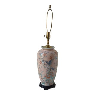 Asian Bird & Flower Motif Porcelain Lamp For Sale