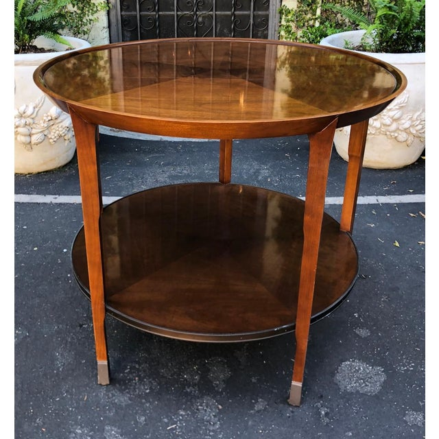 Pair of Bill Sofield for Baker Round Mahogany Designer Side Tables
