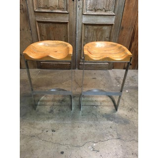 Late 20th Century Warren Bacon Chrome Cantilever Stools- A Pair Preview