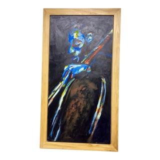 "Original ""Jazz Bassist"" Framed Oil Painting by Lani Mustad Stringer For Sale"