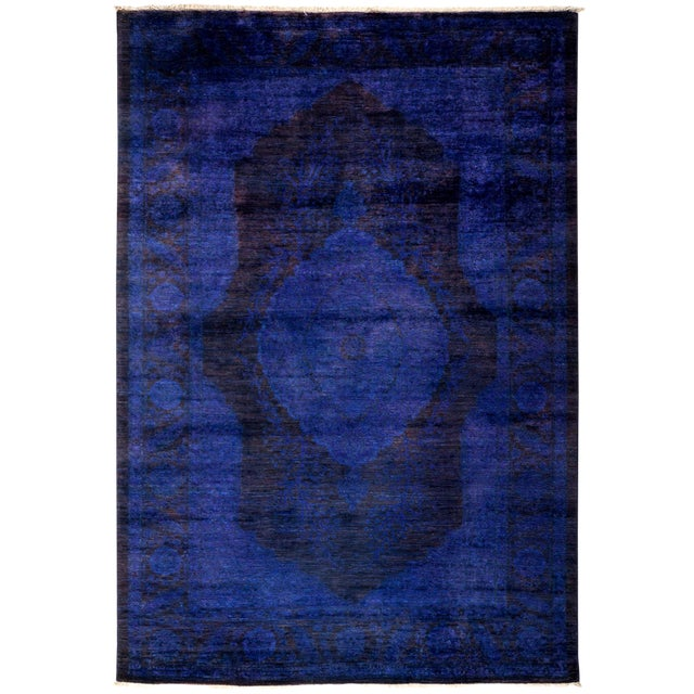 """Overdyed Hand Knotted Area Rug - 4'7"""" x 6'8"""" For Sale - Image 4 of 4"""
