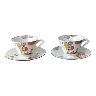 Art Deco Hand Painted Cups and Saucers - Service for 2 For Sale