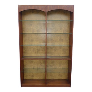 Vintage Mid-Century Modern Bookcase Six Tier Glass Shelf W Walnut Veneer For Sale