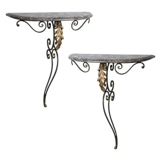Louis XV Style Wall Hung Demilune Consoles in Wrought Iron and Marble - a Pair For Sale