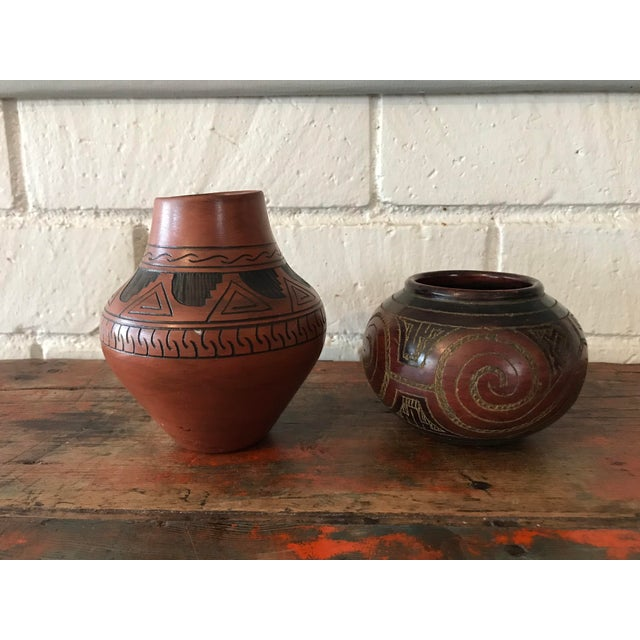 Boho Chic Navajo Brown Pottery Vases - a Pair For Sale - Image 3 of 10