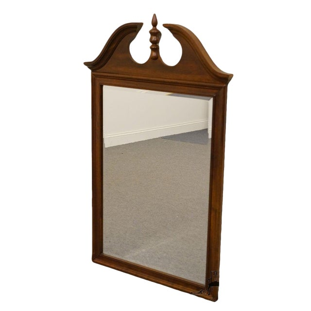 Crescent Solid Cherry Pediment Top Wall Mirror For Sale