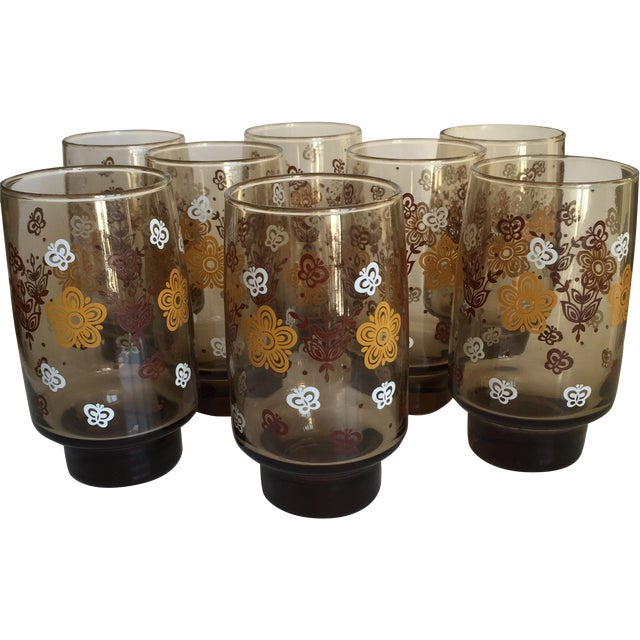 Mid-century Smoky Butterfly Glasses - Set of 8 - Image 1 of 9