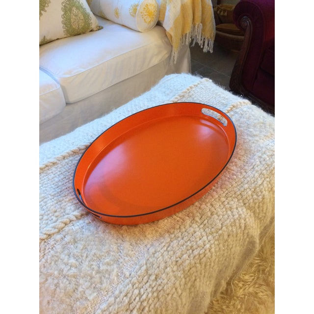 Orange Lacquer Oval Hermès Inspired Serving Tray - Image 11 of 12