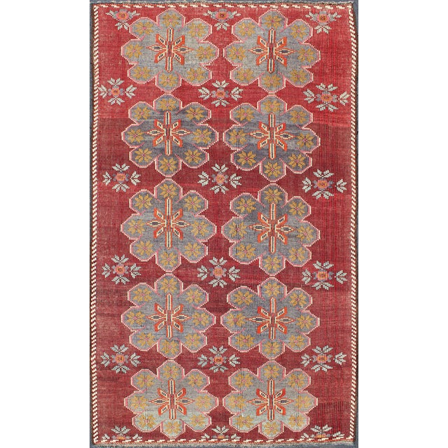 Textile Keivan Woven Arts Vintage Turkish Embroidered Kilim Rug in Wine Red, Steel Blue, Pink For Sale - Image 7 of 7