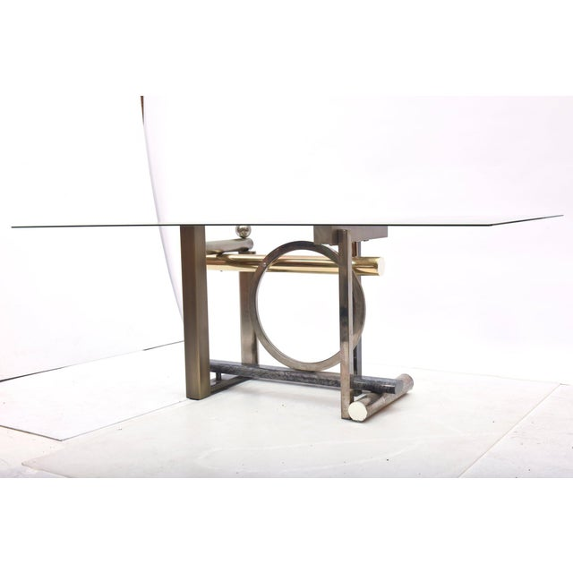American Modern Chrome, Brass and Glass Dining Table, DIA For Sale - Image 9 of 10