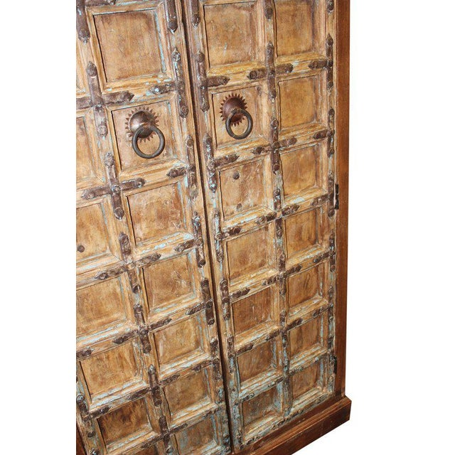 1920s Indian Teak Hand Carved Armoire For Sale - Image 6 of 7