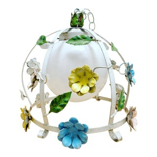 Midcentury 1970s Metal Flower Chandelier For Sale